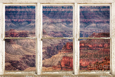 Rustic Window View Into The Grand Canyon Poster