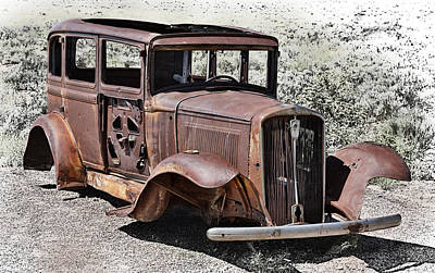 Rusting Car At Painted Desert Petrified Forest Poster by Robert Jensen