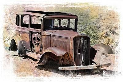 Rusting Car Painted Desert Petrified Forest Poster by Robert Jensen