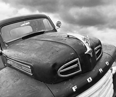 Rusty 1948 Ford V8 In Black And White Poster