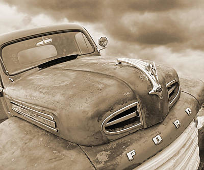 Rusty 1948 Ford V8 In Sepia Poster