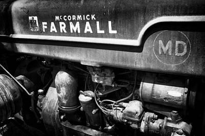 Rusty Farmall Bw Poster