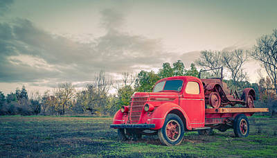 Rusty Old Red Pickup Truck Poster by Sarit Sotangkur