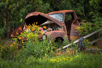 Poster featuring the photograph Rusty Truck Flower Bed - Charming Rustic Country by Gary Heller