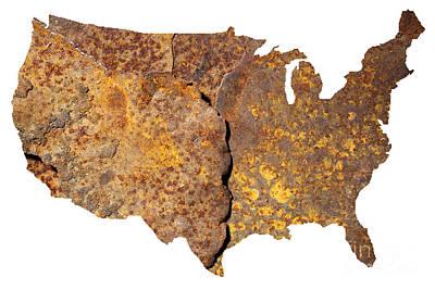 Rusty Usa Map Poster by Tony Cordoza