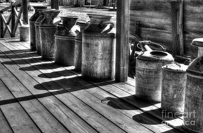 Rusty Western Cans Bw Poster