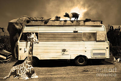 Rv Trailer Park 5d22705 Sepia Poster by Wingsdomain Art and Photography