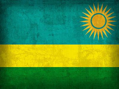 Rwanda Flag Vintage Distressed Finish Poster