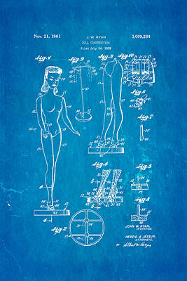 Ryan Barbie Doll Patent Art 1961 Blueprint Poster by Ian Monk