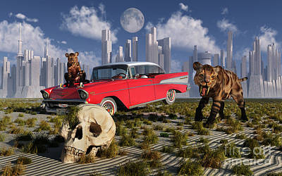 Sabre-toothed Tigers Find A 1950s Poster by Mark Stevenson