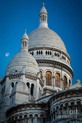 Sacre-coeur And Moon Poster by Inge Johnsson
