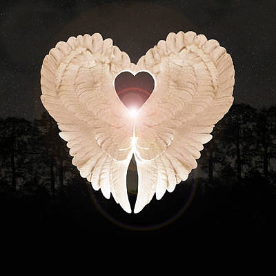 Poster featuring the digital art Sacred Angel by Eric Kempson