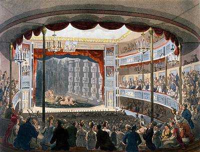 Sadlers Wells, From Ackermanns Poster by T. & Pugin, A.C. Rowlandson