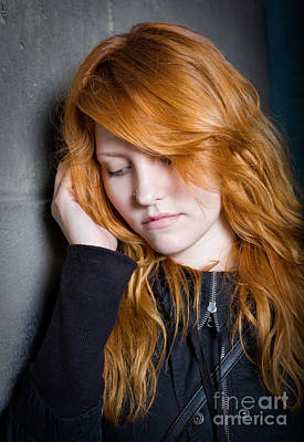 Sadness - Moody Portrait Of A Redhead Girl. Poster by Alstair Thane