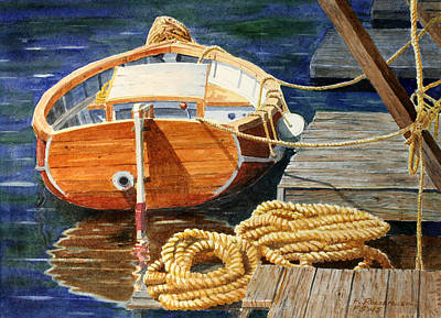 Poster featuring the painting Safe Mooring by Roger Rockefeller