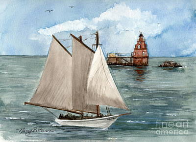 Poster featuring the painting Safely Past The Shoal  by Nancy Patterson
