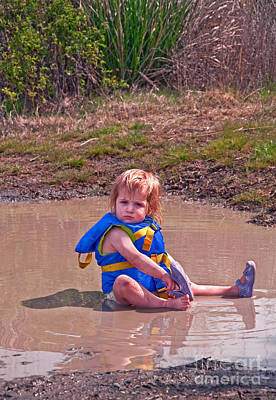 Poster featuring the photograph Safety Is Important - Toddler In Mudpuddle Art Prints by Valerie Garner