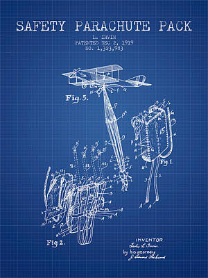 Safety Parachute Patent From 1919 - Blueprint Poster