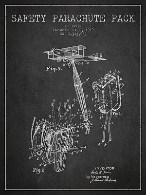 Safety Parachute Patent From 1919 - Charcoal Poster
