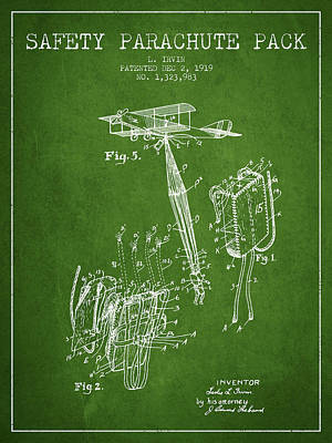 Safety Parachute Patent From 1919 - Green Poster