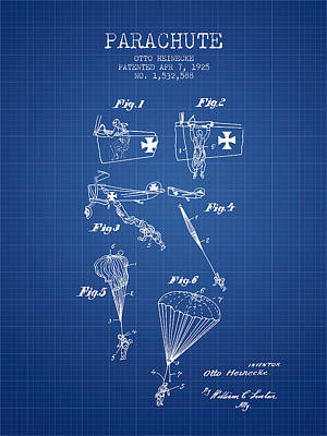 Safety Parachute Patent From 1925 - Blueprint Poster