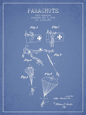 Safety Parachute Patent From 1925 - Light Blue Poster