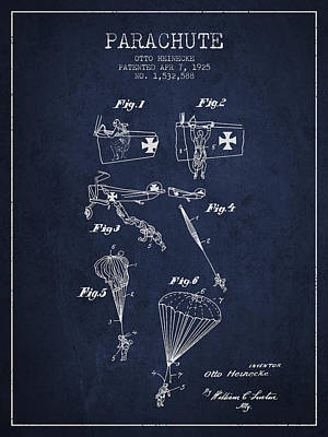 Safety Parachute Patent From 1925 - Navy Blue Poster