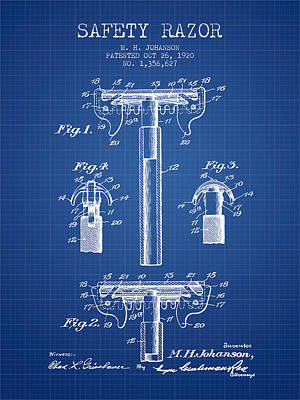 Safety Razor Patent From 1920 - Blueprint Poster by Aged Pixel