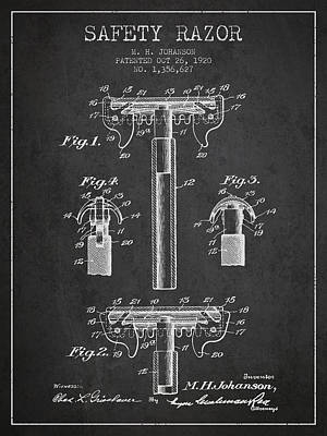 Safety Razor Patent From 1920 - Dark Poster by Aged Pixel