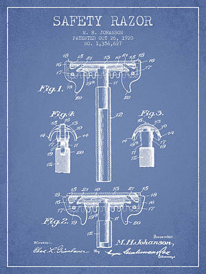 Safety Razor Patent From 1920 - Light Blue Poster by Aged Pixel