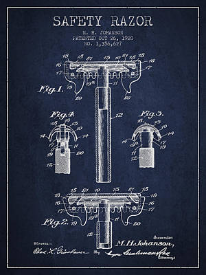 Safety Razor Patent From 1920 - Navy Blue Poster by Aged Pixel