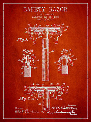 Safety Razor Patent From 1920 - Red Poster by Aged Pixel