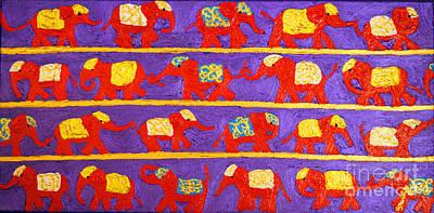 Saffron Elephants Poster