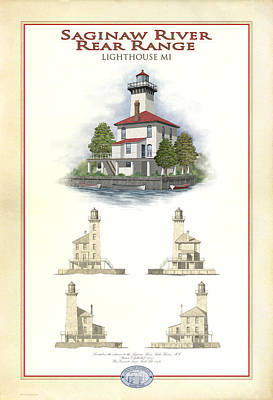 Saginaw River Lighthouse Poster by Harry Hine