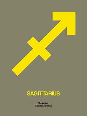 Sagittarius Zodiac Sign Yellow Poster