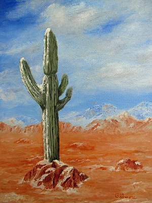 Poster featuring the painting Saguaro In Snow by Roseann Gilmore