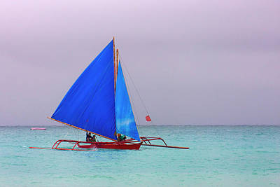 Sail Boat In The Ocean, Boracay Island Poster by Keren Su