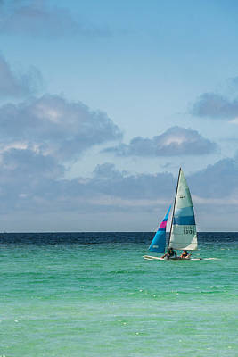 Sail Boat On The Ocean Poster by Shelby  Young