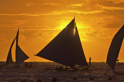 Sail Boats In The Ocean At Sunset Poster by Keren Su