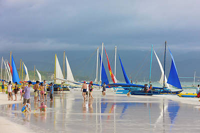 Sail Boats On The Beach, Boracay Poster by Keren Su