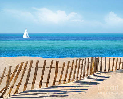 Sailboat And Sand Dune Fence Poster