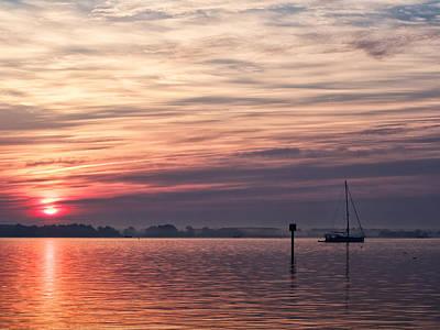 Sailboat At Dawn Poster
