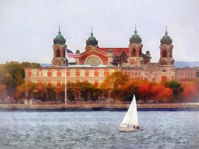 Sailboat By Ellis Island Poster by Susan Savad