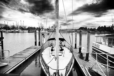 Sailboat Docked Poster by John Rizzuto