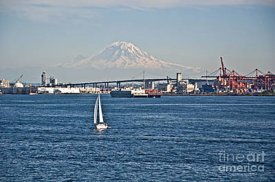 Sailboat Foreground Mt Rainier Washington Landscape Poster