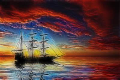 Sailboat Fractal Poster