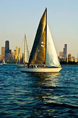 Sailboat In A Lake, Lake Michigan Poster by Panoramic Images