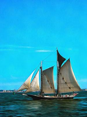 Sailboat In The Bay Poster by Mick Flynn