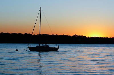 Poster featuring the photograph Sailboat Moored At Sunset by Ann Murphy