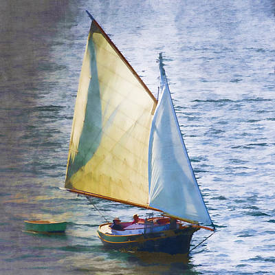 Sailboat Off Marthas Vineyard Massachusetts Poster by Carol Leigh